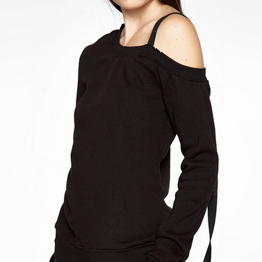 Long Sleeve Sweatshirt With Off-the-shoulder Strap