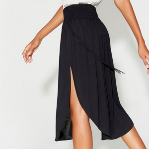 Ruched Waist Midi Skirt