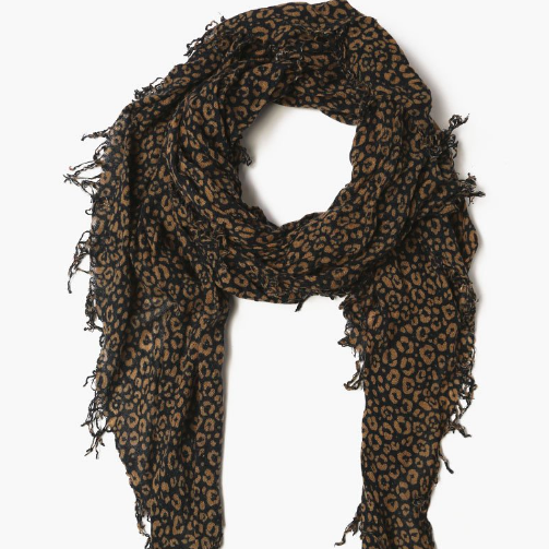 Total Eclipse:Brown Sugar Leopard Print Cashmere and Silk Scarf