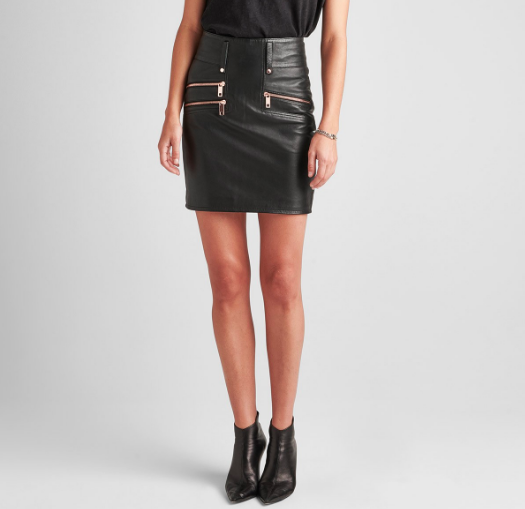 Leather High Rise Moto Skirt Hudson