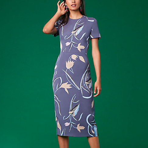 DVF Short Sleeve Crewneck Dress