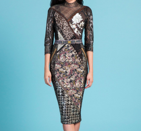 BYRON LARS BURNISHED COPPER COCKTAIL SHEATH DRESS