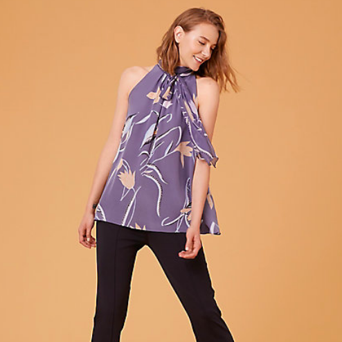 DVF SLEEVELESS HIGH NECK BLOUSE IN OSWALD LILAC