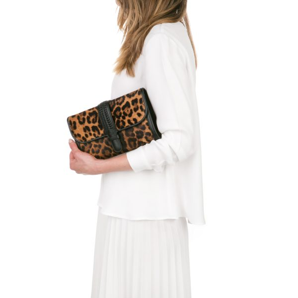 GRACE ATELIER WORLD LEOPARD CLUTCH CALFSKIN