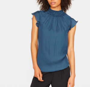 HALSTON HERITAGE FLUTTER SLEEVE SMOKED HIGH NECK TOP IN TEAL