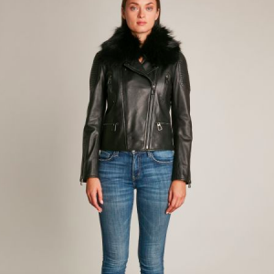 HOTEL PARTICULIER LEATHER JACKET WITH FUR COLLAR
