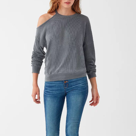 SPLENDID VINTAGE THERMAL COLD SHOULDER SWEATSHIRT