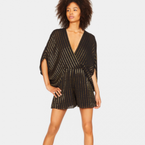 HALSTON HERITAGE CAPE SLEEVE STRIPED FAUX WRAP ROMPER