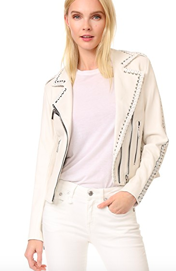 Ice Pink Rivet Leather Jacket
