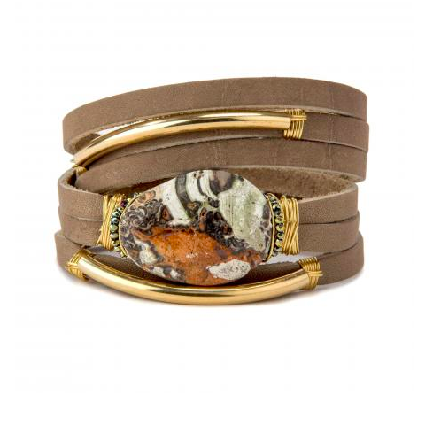 JASPER SHRED LEATHER BRACELET