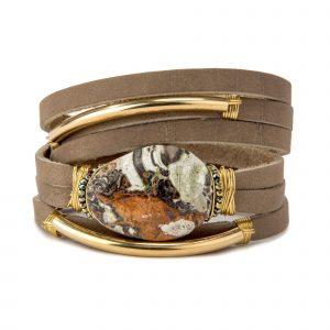 Jasper Shred Leather Bracelet