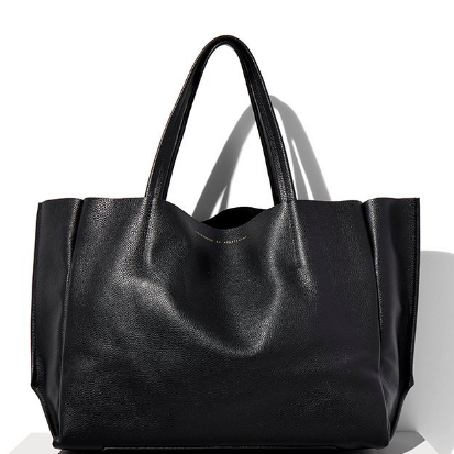 BLACK LUX LEATHER TOTE