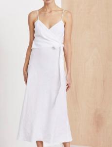 Ivory linen wrap dress