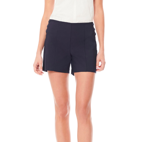 NAVY BUTTON SHORTS ECRU