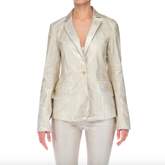 GOLD WHITE DENIM BLAZER