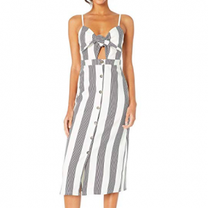 STRIPED TIE FRONT DRESS