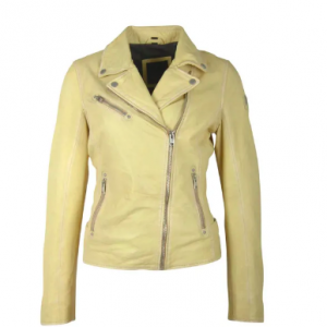 PALE YELLOW LEATHER JACKET