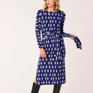 DVF PRINTED MERINO WOOL DRESS