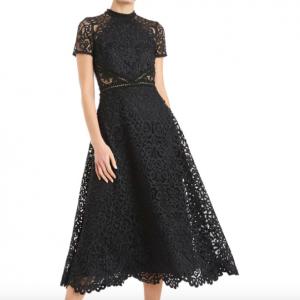 BLACK LACE LONG DRESS MONIQUE LHUILLIER