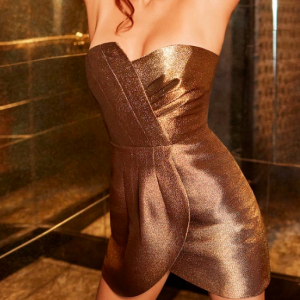 STRAPLESS METALLIC DRESS RAMY BROOK