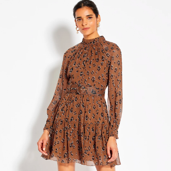 LEOPARD SILK MINI DRESS
