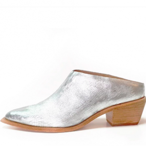 SILVER LEATHER MULE