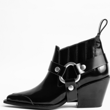 ZADIG AND VOLTAIRE N'DRICKS GLOSSY ANKLE BOOT
