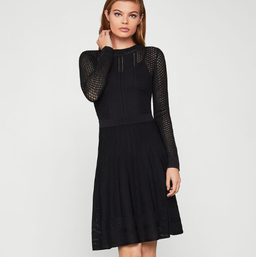 BCBG SWEATER DRESS OPEN KNIT
