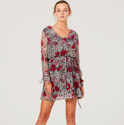 FLORAL AND LEOPARD DRESS