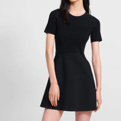 THEORY BLACK KNIT FLARE DRESS