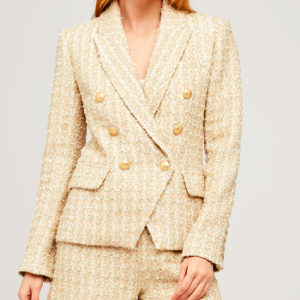 ROSE GOLD TWEED BLAZER L'AGENCE