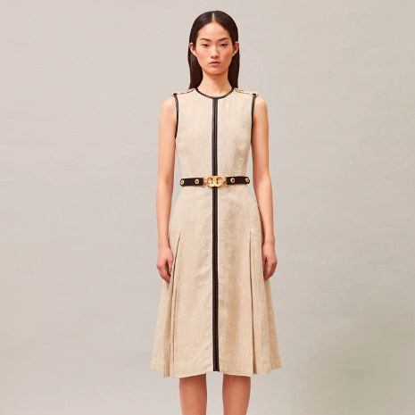 TORY BIRCH LEATHER AND LINEN DRESS