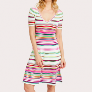 RAINBOW STRIPE VNECK KNIT DRESS