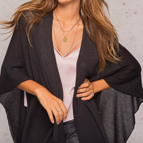 BLACK WRAP CARDIGAN