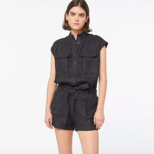 BLACK LINEN FRAME JUMPSUIT SHORTS