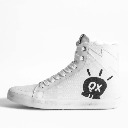 ZADIG AND VOLTAIRE GRAFFITI HIGH TOP SNEAKER WHITE