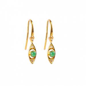 ANNE GANGEL PROTECTIVE EYE GREEN EMERALD GOLD EARRINGS
