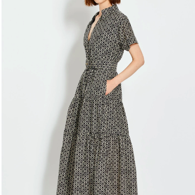 NICHOLAS SHORT SLEEVE PATTERNED TIERED DRESS IKAT