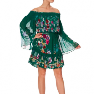 CAMILLA EMERALD TIERED DRESS