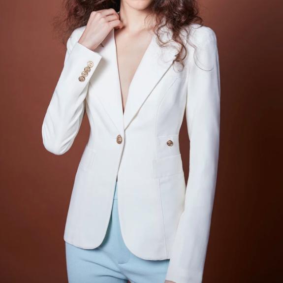 White Linen Duchess Blazer Smythe