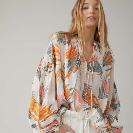 COTTON PALM PRINTED BLOUSE CLOSED