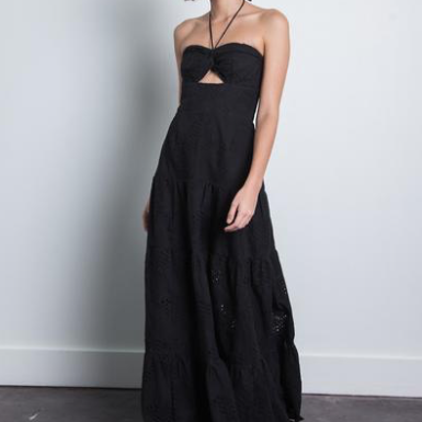 Black Eyelet Maxi Cecil Dress Karina Grimaldi