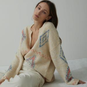 Ivory Knit Cardigan with Argyle CLOSED