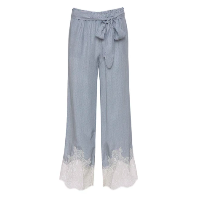 LACE BOTTOM LINEN STRIPE PANT