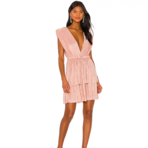 SABINA MUSAYEV TIERED MINI DRESS BLUSH