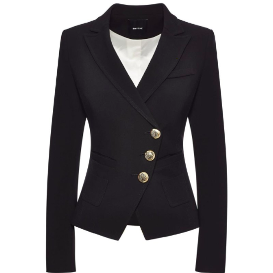 WRAP THREE BUTTON BLAZER SMYTHE BLACK