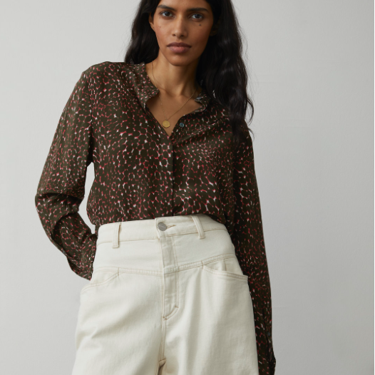 PATTERNED SILK BLOUSE TOP CLOSED