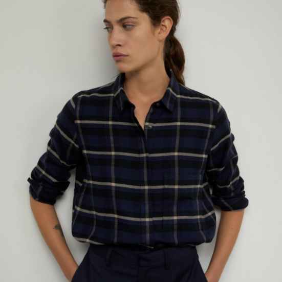 CHECK FLANNEL COTTON BLOUSE BUTTON DOWN CLOSED ITALY