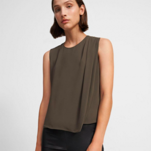 THEORY BROWN SILK DRAPE TOP