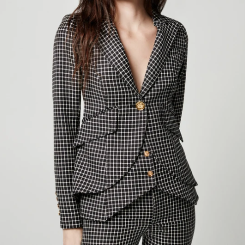 BLACK AND WHITE GRID BLAZER SMYTHE